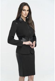 Φούστα ψηλόμεση σε ελαφρά πενσιλ γραμμή απο ελαστικό κρεπ με λεπτομέρειες δερματίνης στα πλαϊνά. Casual Looks, High Neck Dress, Shopping, Dresses, Style, Fashion, Turtleneck Dress, Vestidos, Swag