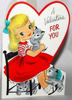 1950's Hallmark Sweet Little Girl Adorable Kittens Vintage Valentine's Card