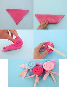 Chupetas con toalla como souvenirs de baby shower   Manualidades para Baby Shower