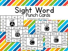 ***FREEBIE*** Sight Words are generated from both of Jan Richardson's guided reading books. *large and small sight word punch cards for Jan Richardson's List A-E *blank punch card to write in your own words*sight word flashcards Kindergarten Sight Words List, First Grade Sight Words, Dolch Sight Words, Kindergarten Reading, Sight Word Flashcards, Sight Word Worksheets, Sight Word Wall, Rainbow Words, First Grade Reading