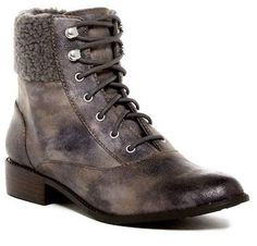 BC Footwear Hood Faux Shearling & Vegan Cuff Lace-Up Boot. A faux shearling cuff adds a cozy touch to the Hood Lace-Up Boot. Vegan Shoes, Lace Up Boots, Combat Boots, Footwear, My Style, Heels, Nordstrom Rack, Fashion, Lace Up