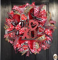 Valentine's Day Deco Mesh Wreath Valentine's by ShellysChicDesigns