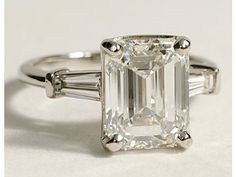 Tapered Baguette Diamond Engagement Ring in Platinum #BlueNile