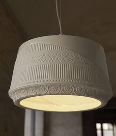 Half Glazed Ceramic Pendant with Half Lace Detailing