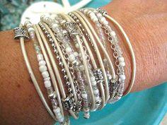 """Boho Chic Endless Leather Wrap Beaded Bracelet..White Wedding....""""FREE SHIPPING""""   by LeatherDiva, $39.00"""