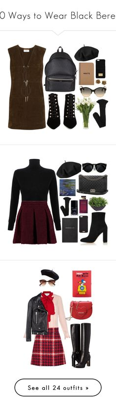 """20 Ways to Wear Black Berets"" by polyvore-editorial ❤ liked on Polyvore featuring waystowear, berets, Yves Saint Laurent, Balenciaga, Emilio Pucci, Betmar, MICHAEL Michael Kors, NDI, Tiffany & Co. and women's clothing"