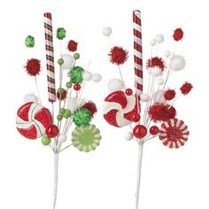 "RAZ Peppermint Candy Pom Pom Spray Set of 2  2 Assorted styles Set includes one of each Red, Green, White Made of Styrofoam Measures 18""  Spray of peppermint candies and sticks, red, green"