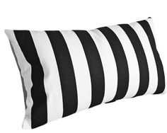 Black and White Striped Pillow  SMALL Lumbar by PillowThrowDecor, $22.00