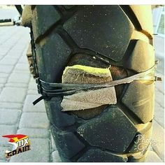 Watever it takes to keep riding #tyre #motorcycle #fix #puncture #ziptied #diy #prepare #power #teamsuzuki #bikespotting #teamyamaha #teamkawasaki