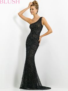 """Go to prom look like a modern day Audrey Hepburn in this black one shoulder lace formal prom gown. Take a black and white in this for an old Hollywood theme event. Features:   Available in sizes 0-24  Colors include Black/Nude, Red/Nude  Length (Hollow to Hem): 59""""-60""""  Fabric: Lace"""