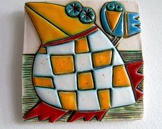 Original Ceramic Art Tile ,Wall Art,Home Decor,Wall Hanging-Fat Bird