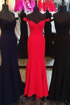 2017 Mermaid Long Prom Dress, Red Long Prom Dress, Navy Blue Off the shoulder Mermaid Long Prom Dress, Black Long Prom Dress, Formal Evening Dress