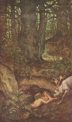 "connoisseur-art: ""Moritz von Schwind, Nixies and Drinking Deer "" Moritz Von Schwind, Fairytale Art, Mystique, Ludwig, Old Art, Children's Book Illustration, Art Inspo, Vintage Art, Fairy Tales"