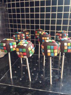 Rubik's cube cake pop