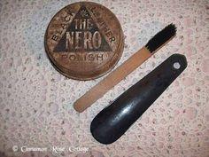 Lot 3 Vintage Collection Shoe Shine Polish Tin Wood Brush Leather Shoe Horn | eBay