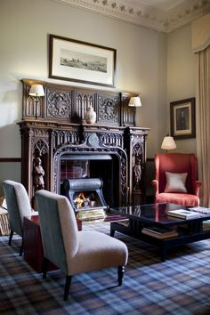 A place to rest and reflect upon a good day fly fishing. That fireplace! Tartan Decor, Tartan Carpet, Interior And Exterior, Interior Design, Brown Interior, English Interior, Vintage Stoves, Fireplace Design, Shabby Chic Furniture