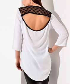 Another great find on #zulily! Elika White & Black Cutout Three-Quarter Sleeve Top by Elika #zulilyfinds