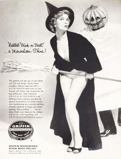 Vintage Griffin Boot Polish Halloween Pinup advert