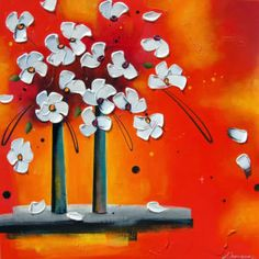 Instant présent, Danielle Champoux  #Art #Artwork #Artist #painting #painter #Peinture #peintre #Flowers #Fleurs #nature #HomeDecor #Quebec #Canada Flower Artwork, Symbols, Painting, Colours, Flowers, Canada, Inspiration, How To Paint, Toile