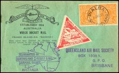 """1935, rocket post cover with 2 stamps Australia and Raketen-Vignette """"WRECK Stretched FLIGHT 11."""
