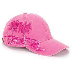 Hot Pink Palm Tree Resort Hat Adams Women Baseball Cap Price Apparel... ( 163ff3778ed7