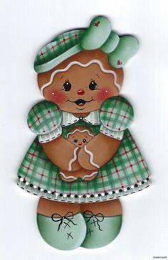 HP Gingerbread Green Plaid Dress Fridge Magnet