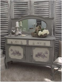FRENCH STYLE SHABBY CHIC PAINTED SOLID SIDEBOARD DRESSER WITH MIRROR   eBay