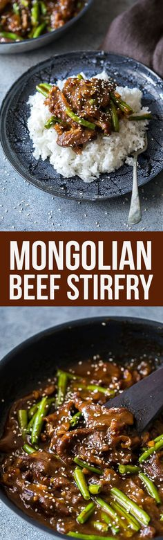 This Mongolian Beef is the best ever. Sticky sauce, delicious beef and oh so flavorful.