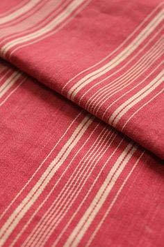 Antique French red ticking fabric ~ lovely classic French country style ~ lovely fabric direct from France ~ www.textiletrunk.com