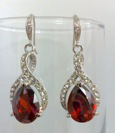 Red Garnet Wedding Jewelry Ruby Bridal Earrings and by YJCouture, $79.00