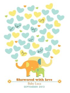 PRINTABLE Guestbook Baby Shower Poster - Elephant Showers - 16X20. $18.00, via Etsy.