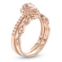 Precious Bride™ Pear-Shaped Morganite and 1/4 CT. T.W. Diamond Frame Vintage-Style Bridal Set in 14K Rose Gold | Engagement Rings | Wedding | Zales