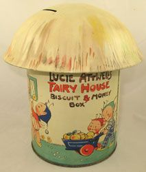 """""""Mabel Lucie Attwell"""" Fairy House Biscuit and Money Box..vintage biscuit tin."""