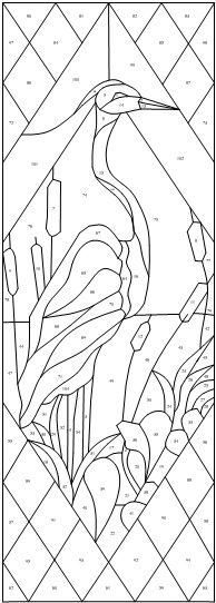 egret panel in case I ever get in to doing stained glass Stained Glass Patterns Free, Stained Glass Quilt, Stained Glass Birds, Faux Stained Glass, Stained Glass Designs, Stained Glass Panels, Stained Glass Projects, Free Mosaic Patterns, Mosaic Art