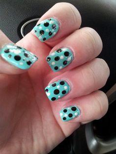 Aqua and dots nail design!