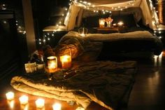 Camping Date Night For TWO, Please! Tent Set up- Lit up by candles and Twinkle lights