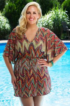 Rich colors and a spectacular design adds to this very basic but stylish cover up. This Always For Me Multi Zig Zag Tunic is sure to be a best seller for it's versatility. This multi color cover up w