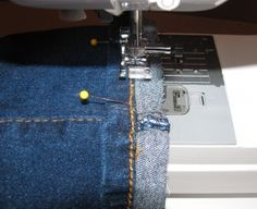 Hem jeans and keep the original edge with a Serger!