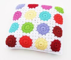 "Circle-in-a-Square Motif Pillow by Carolyn Christmas - free #crochet pattern and other ""polka dot"" crochet and knit patterns"