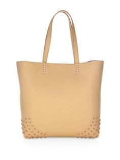 TOD'S Gommini Wave Leather Tote Bag. #tods #bags #leather #hand bags #tote #lining #