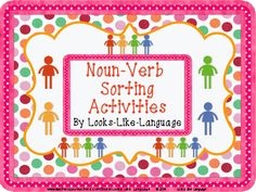 Use a thinking strategies organizer to sort nouns and verbs in this task card and class activity set from Looks-Like-Language! Includes a picture set for special needs and limited readers. $
