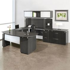 U-Desk with Hutch and Storage | Executive Office | #MyNBFStyle #executive #officeinspo #officeideas #manageroffice #corneroffice