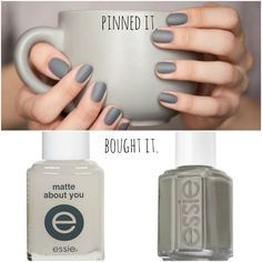 Weeks ago I pinned an image of matte gray nails. The gray was classic, but the matte finish was unconventional. I was totally into it! A short time later I came across Essie 'Matte About You Fin...