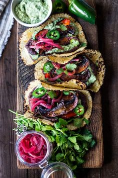 """Tacos with Smoky Chipotle Portobellos Sheet-Pan, Chipotle Portobello Tacos - smoky, spicy and """"meaty"""" - these VEGAN tacos are sure to satisfy even the most diehard meat-lovers! Make them in 30 minutes! Mexican Food Recipes, Whole Food Recipes, Cooking Recipes, Dinner Recipes, Cooking Corn, Chef Recipes, Crockpot Recipes, Cooking Tips, Ethnic Recipes"""