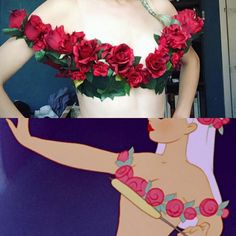 """My rose garland for my centaurette cosplay from Disney's Fantasia! I not interested in flashing underboob for this cosplay, so I interpreted this garment as a full bra with clear straps for support."""