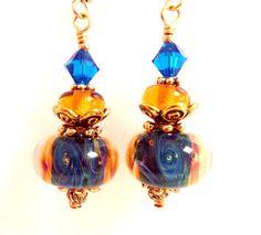 Golden Blue Glass Earrings Blue Purple Teal by Elegencebyelaine, $26.00