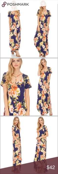 "Navy Floral Pocket Maxi Dress •Y shaped criss cross at neckline •Side pockets  Measurements: S:    Bust up to 36"" Length: 55"" M:   Bust up to 38"" Length: 55.5""  ❗️Price is firm unless bundled❗️ 7TR991602N Dresses Maxi"