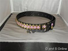 WOMENS BELT GOLD AND PURPLE STUDDED SQUARES NEW LARGE