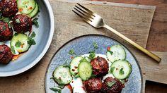 Chili-Cumin Lamb Meatballs with Yogurt and Cucumber