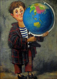 Unknow title. Lado Tevdoradze, Georgian painter. #globe